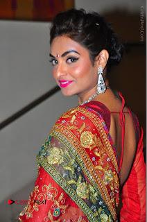 Model Sharon Fernandes Stills in Red Saree at Trendz Exhibition Launch  0026.JPG