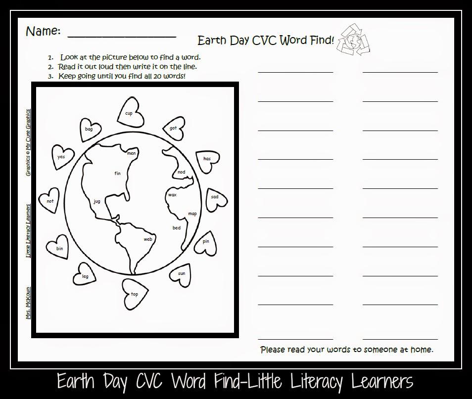 Little Literacy Learners: Earth Day CVC Word Find FREEBIE