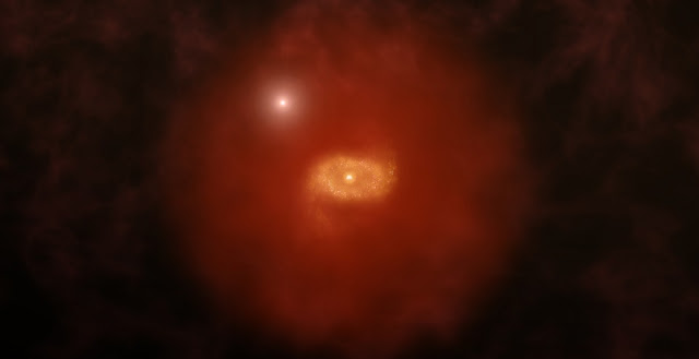 Artist impression of a progenitor of Milky Way-like galaxy in the early universe with a background quasar shinning through a 'super halo' of hydrogen gas surrounding the galaxy. New ALMA observations of two such galaxies reveal that these vast halos extend well beyond the galaxies' dusty, star-forming disks. The galaxies were initially found by the absorption of background quasar light passing through the galaxies. ALMA was able to image the ionized carbon in the galaxies' disks, revealing crucial details about their structures. Credit: A. Angelich (NRAO/AUI/NSF)