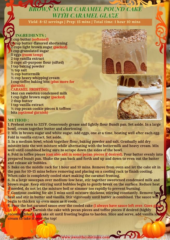 BROWN SUGAR CARAMEL POUND CAKE WITH CARAMEL GLAZE RECIPE