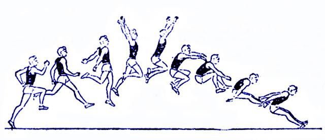 Salto largo atletismo paso gesto técnico susénsión