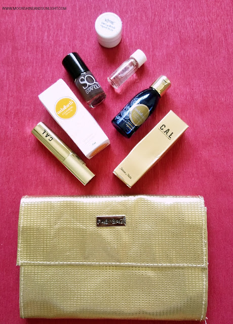 October 2016 Fab Bag review, Indian Beauty blog , Votre Gel Lip scrub, VedaEarth Cleansing oil, C.A.L. matte Lipstick