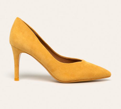 Answear - Pantofi cu toc inalt eleganti galbeni piele intoarsa eco