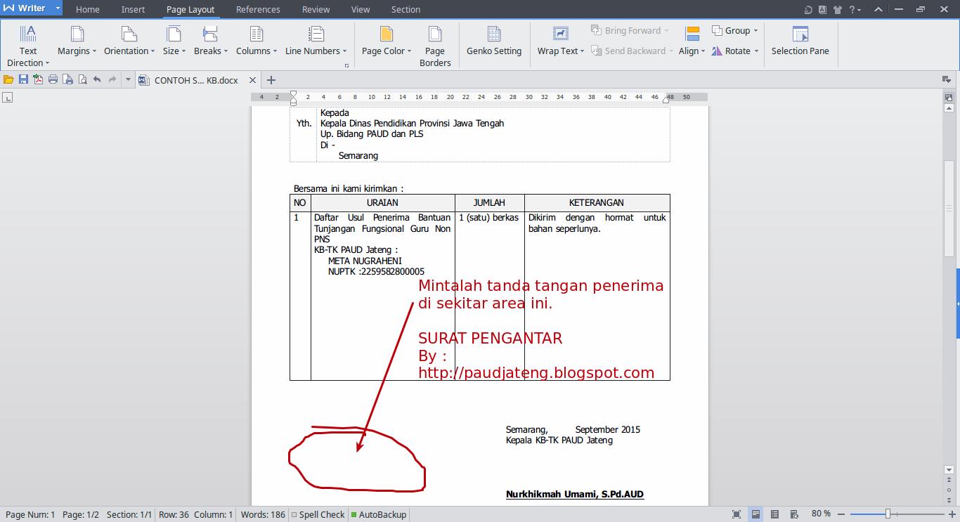 2 Contoh Format Surat Pengantar Lembaga Paud Paud Jateng