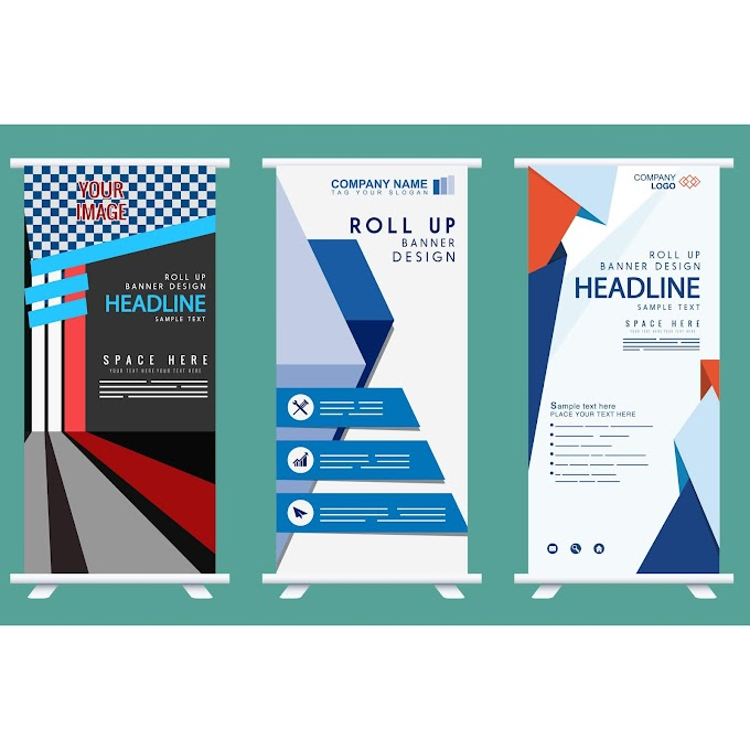 Company banner templates rolled up shape modern decor Free vector