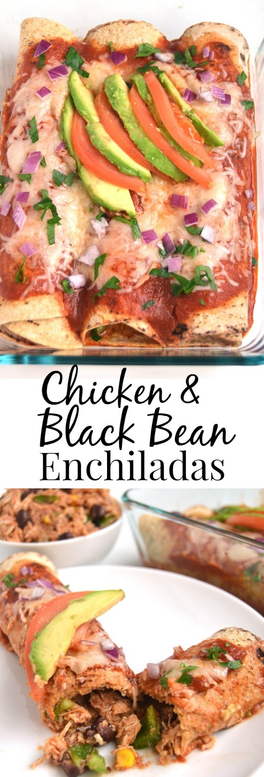 Chicken and Black Bean Enchiladas feature shredded, slow-cooker chicken, black beans, corn and bell peppers topped with a fresh, flavorful tomato sauce, melted cheese and fresh tomatoes and avocado for a meal everyone will love! www.nutritionistreviews.com