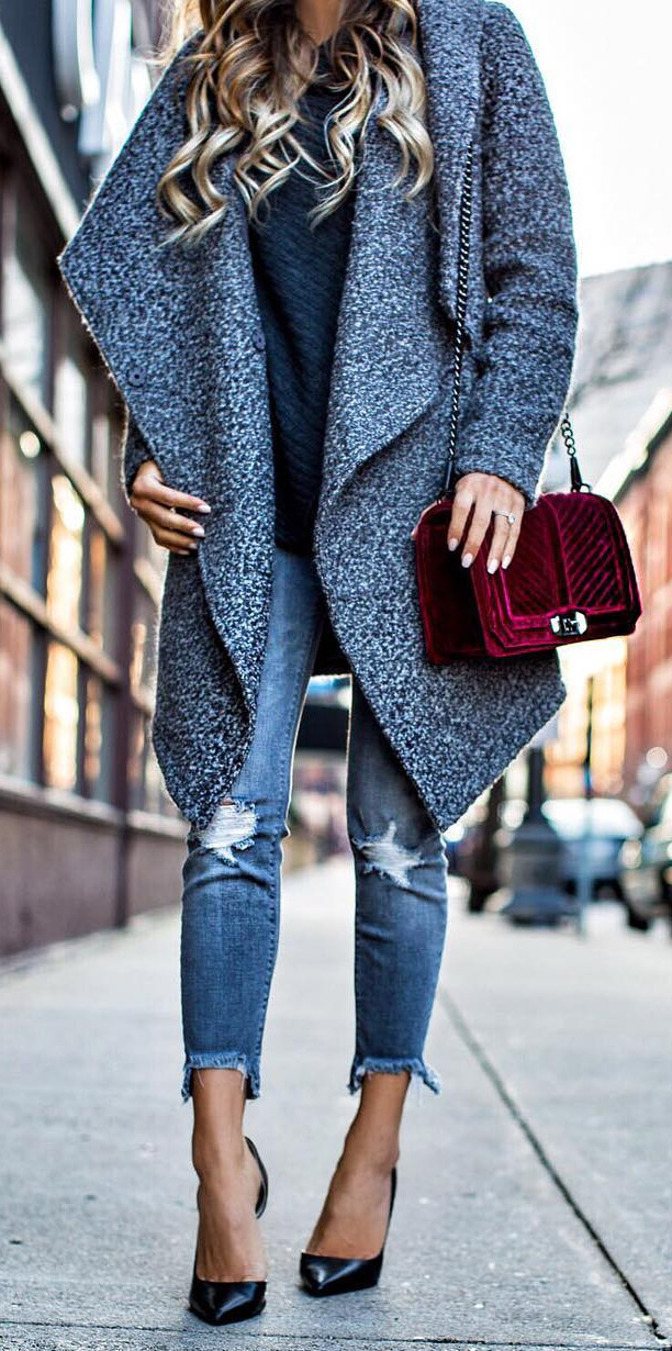 all shades of blue: how to wear coat with jeans