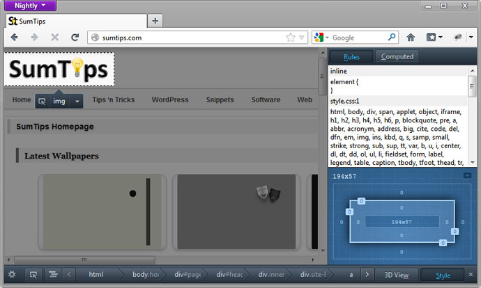 Firefox 15 Layout View