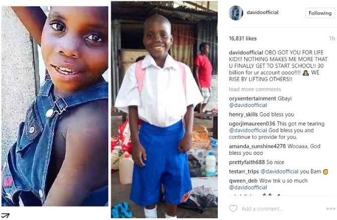 Davido helps A Little Fan start School