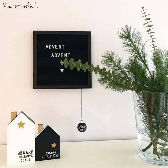 DIY Weihnachtsdeko Sternenkranz Schwarz/Weiß Eukalyptus