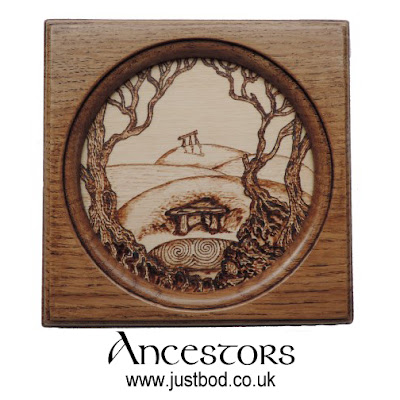 Hand burnt Ancestors wood plaque by Justbod