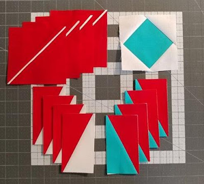 North star quilt block for the I Wish You a Merry QAL