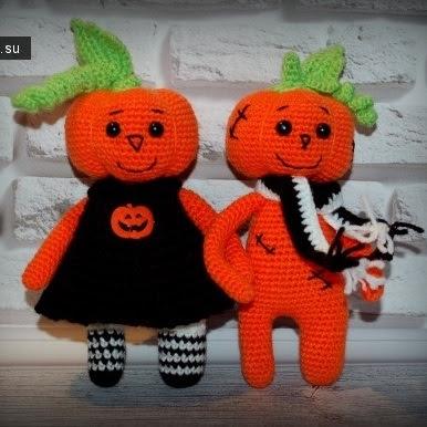 Куклы-тыквы крючком Хэллоуин