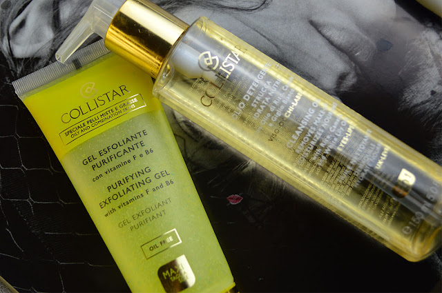 gel esfoliante puricante, olio detergente, cleansing oil, collistar. speciale pelli miste e grasse, skincare, how to clean skin, exfoliation,
