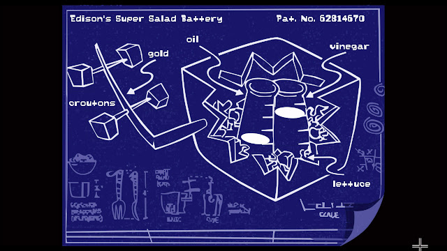 Day of the tentacle Edison's super salad battery patent plans