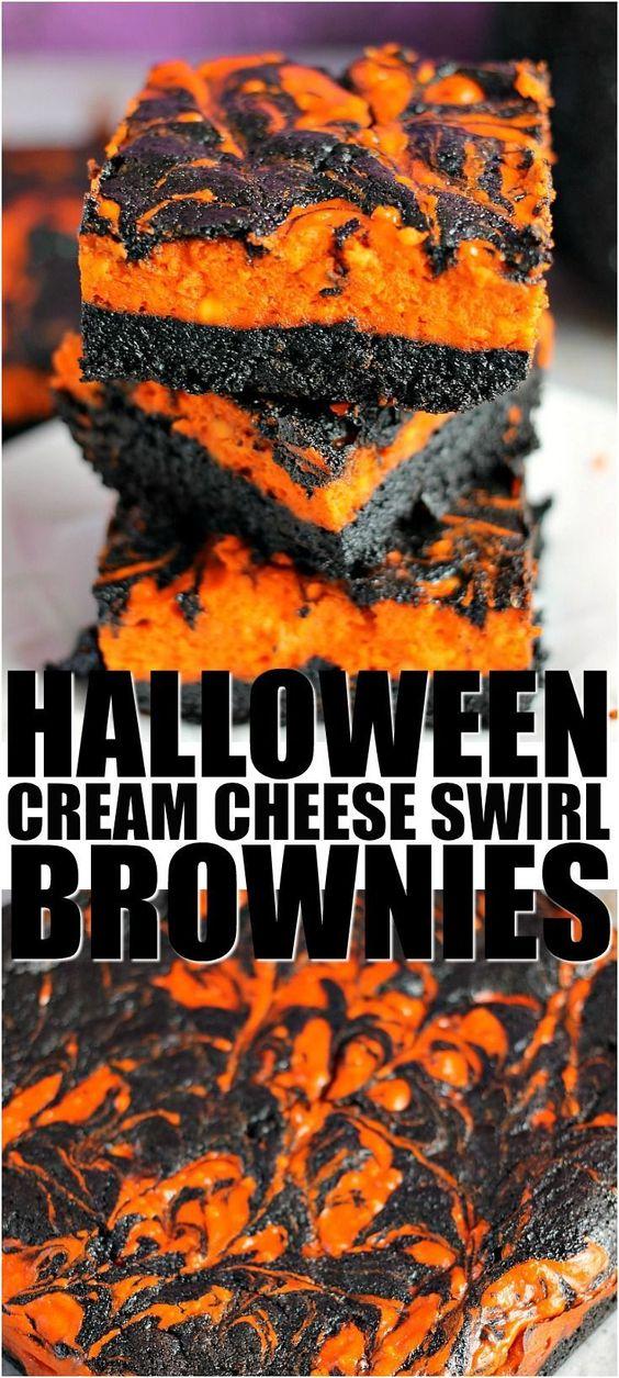 Halloween Cream Cheese Swirl Brownies