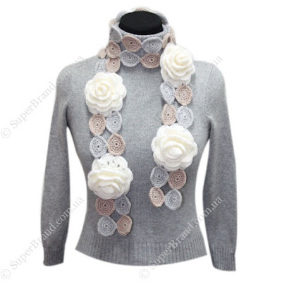 шарф с розами крючком