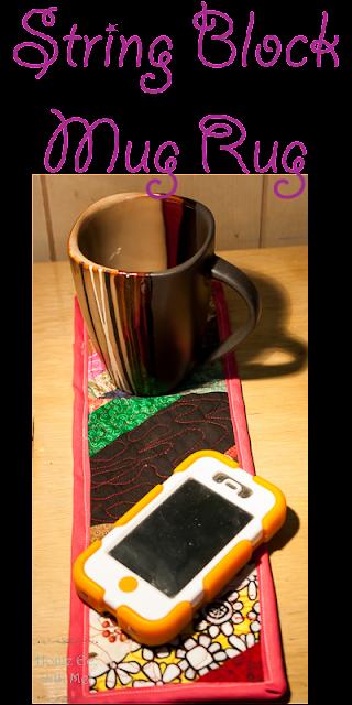 string quilt block mug rug