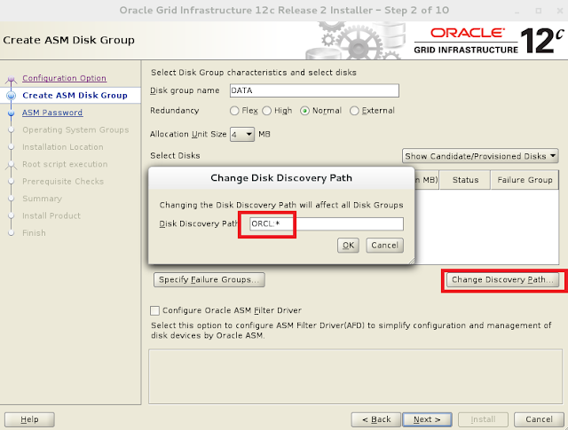 Oracle 12c grid infrastructure installation wizard screen 2