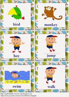jungle animals action verbs flashcards