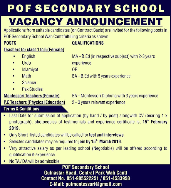 POF Secondary School Wah Cantt Jobs 2019 For Teaching