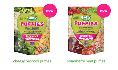 Baby Gourmet Puffies cheesy broccoli puffies and strawberry beet puffies