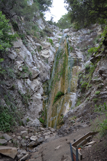 San Ysidro Falls with a bit of green growing out of it