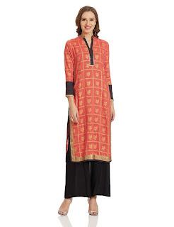 Golden Print Orange W Woman Kurta by FashionDiya