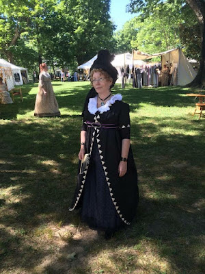 1790's silk open robe and Swiss dot underdress