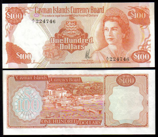 Cayman Islands currency 100 Caymanian Dollars banknotes, Queen Elizabeth.