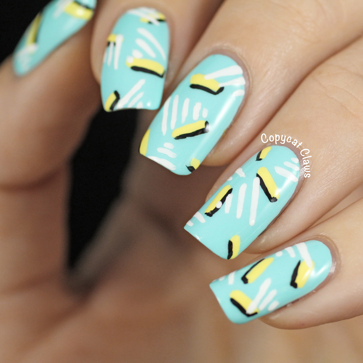 Copycat Claws Blue Color Block Nail Art: Copycat Claws: 80's Nail Art