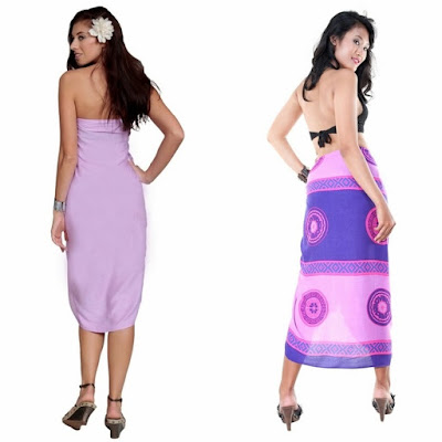 Lavender Sarong & Abstract Tiki Sarong in Purple and Pink