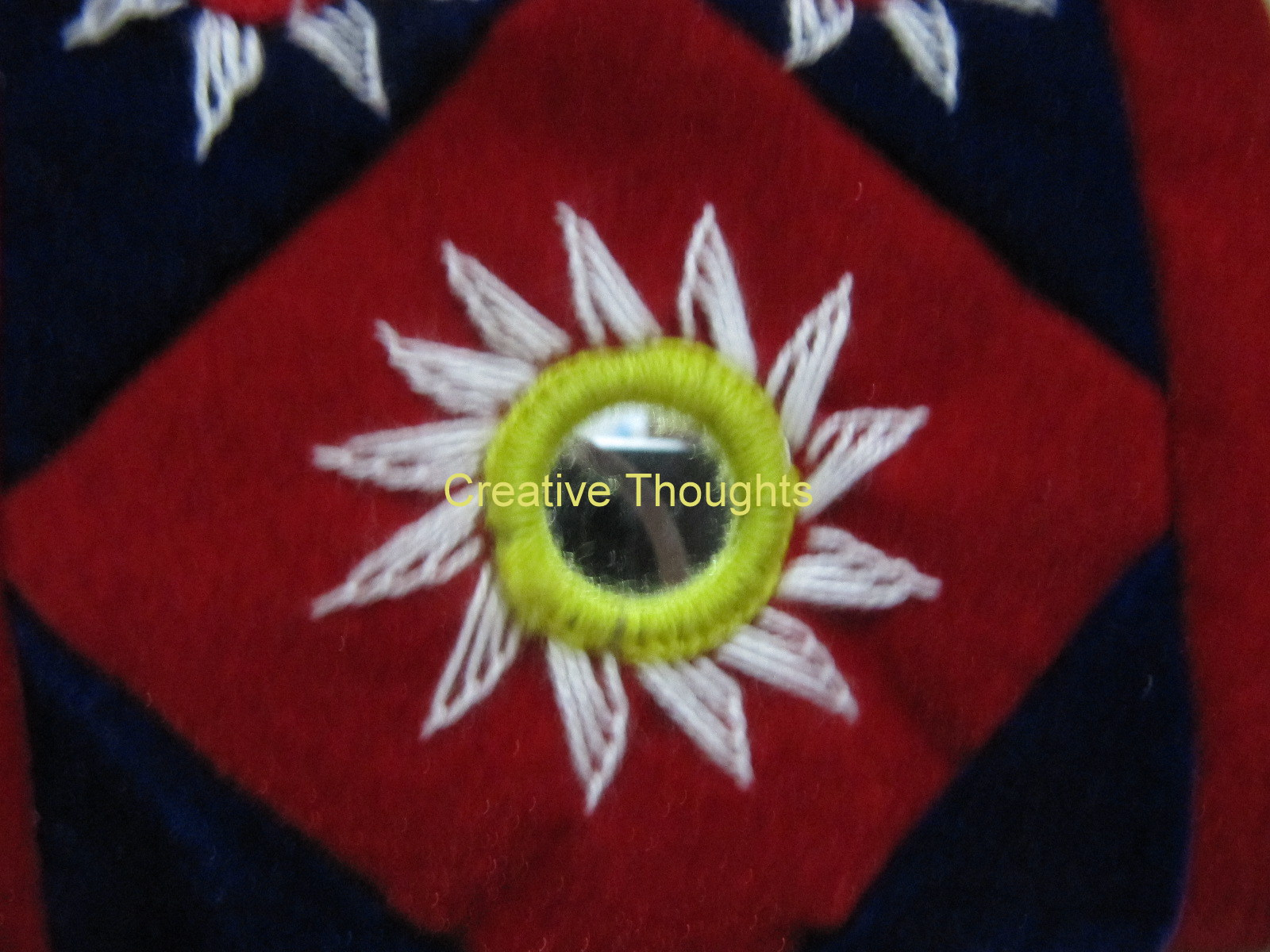 4d5eaf73e9 The ring of the mirror is a ready made one.Blanket stitch stitched on a  plastic ring..That will not last long and so I never use it.