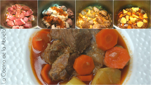 estofado ternera carne guisada olla rápida express 30 minutos pasos