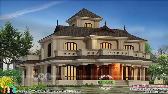 Semi traditional 4 bedroom 2898 square feet Kerala home design