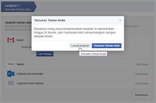 Mencari kontak teman facebook melalui email