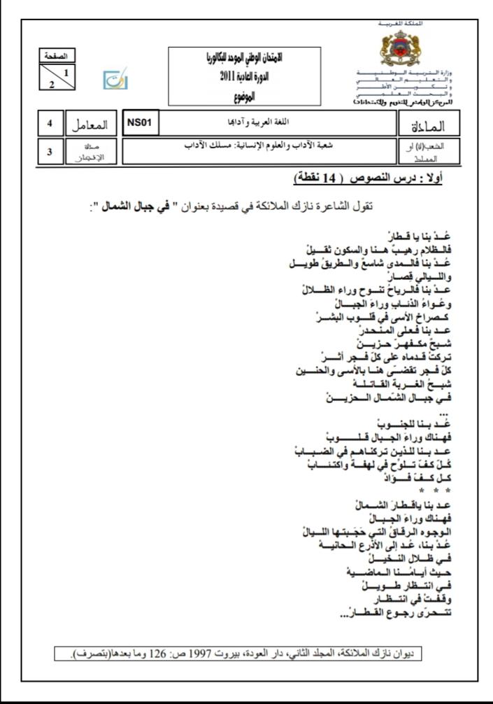 الامتحان الوطني الموحد للباكالوريا - الدورة العادية 2011، مادة اللغة العربية، شعبة الآداب والعلوم الإنسانية، مسلك الآداب