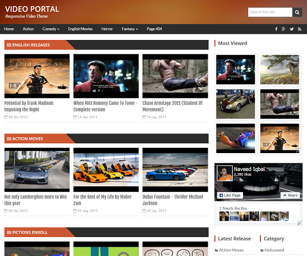 VideoPortal Video template has an elegant featured video area.