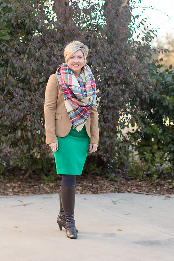 how to interject color in the winter, green pencil skirt, blanket scarf