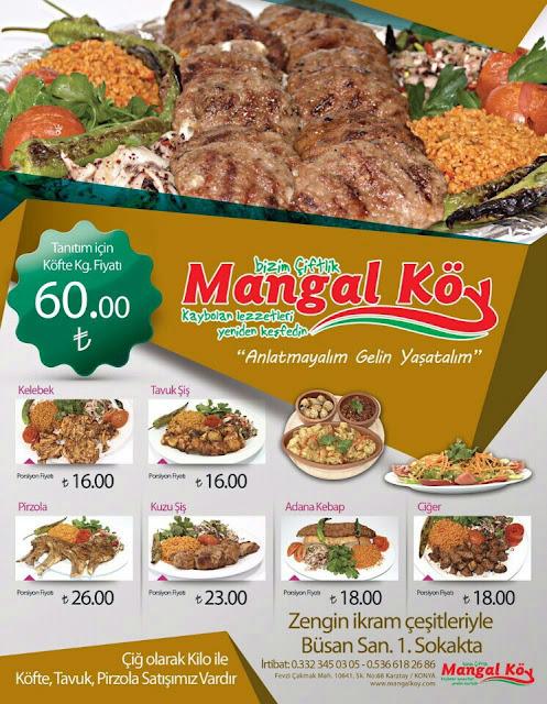 mangal köy konya menü fiyatlar