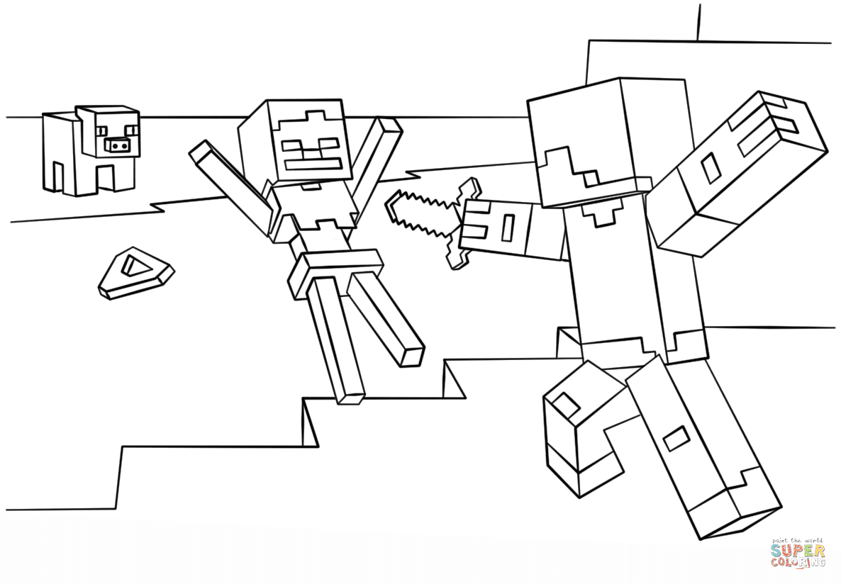 Unique Minecraft Steve Coloring Pages Design | Big ...