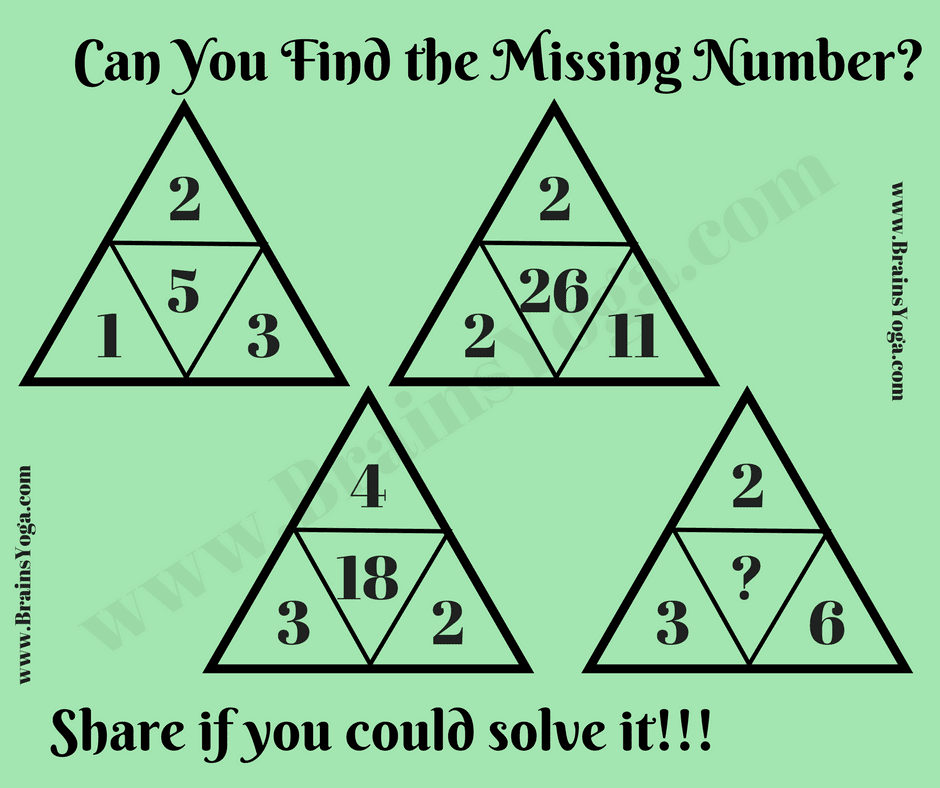 Missing Number Maths Logic Puzzle With Answer Puzzles Riddles Brainteasers