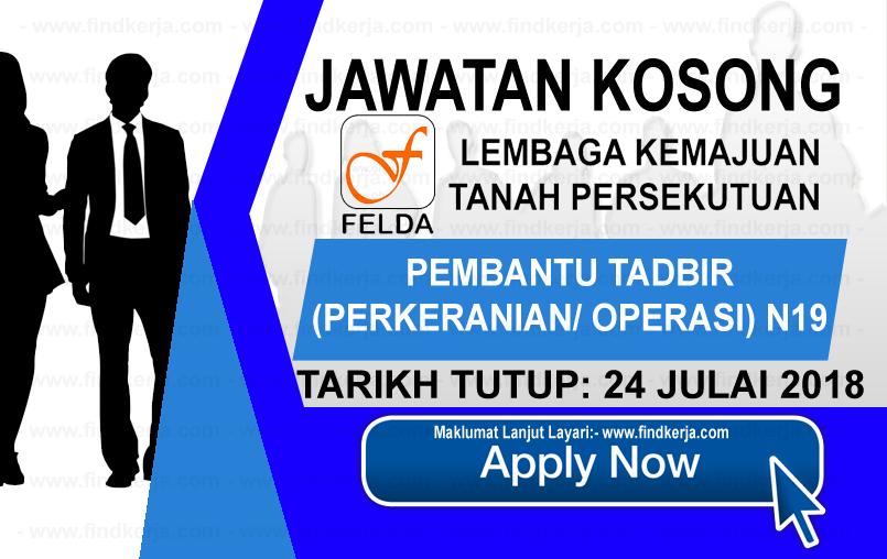 Jawatan Kerja Kosong FELDA - Lembaga Kemajuan Tanah Persekutuan logo www.ohjob.info www.findkerja.com julai 2018