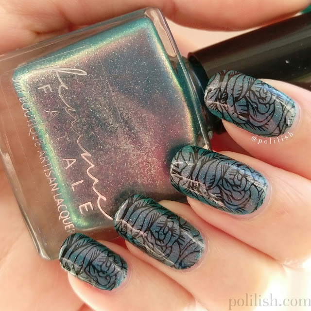 "Floral stamped nails with Femme Fatale Cosmetics ""Poisoned Apple"", by polilish"