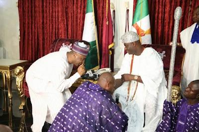 senate president Bukola Saraki meets Ooni of Ife Oba Adeyeye Ogunwusi