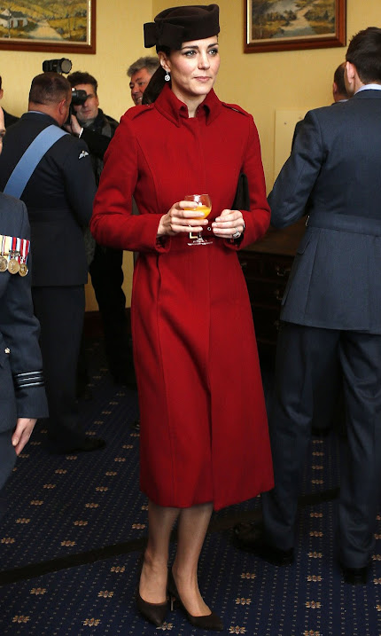 Catherine, Duchess of Cambridge and Prince William, Duke of Cambrige attend a reception following the ceremony marking the end of RAF Search and Rescue (SAR) Force operations during a visit to RAF Valley