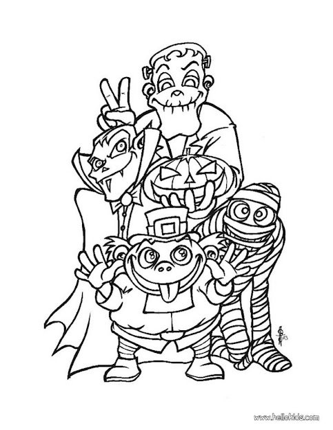 Spooky Monsters Coloring Page