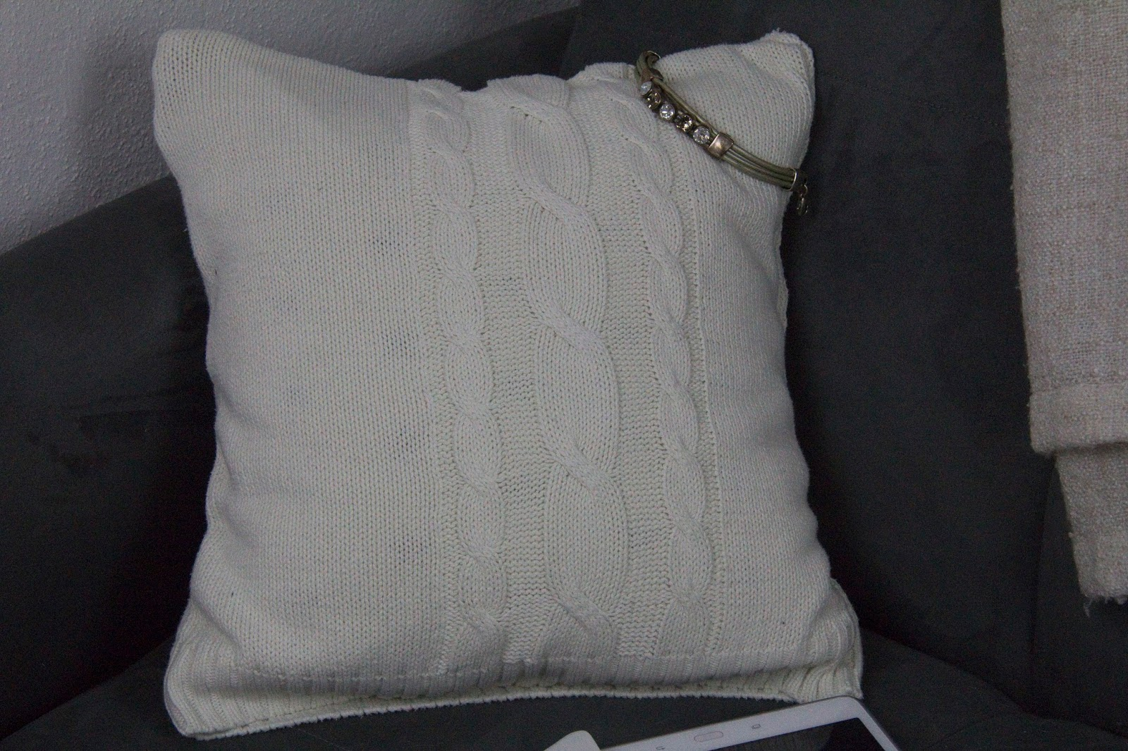 repurposed sweater pillow case