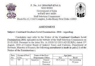 SSC CGL 2018 - Amendment Notice from SSC