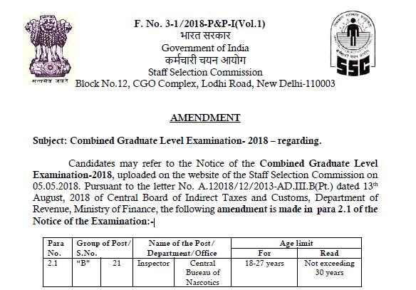 SSC CGL 2018 - Amendment Notice from SSC